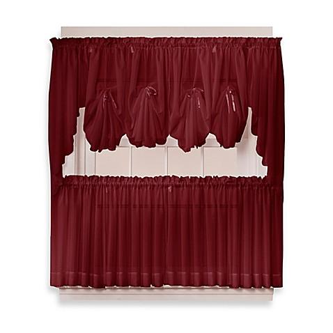 Buy Emelia 36 Inch Sheer Window Curtain Tier Pair In Burgundy From Bed Bath Beyond