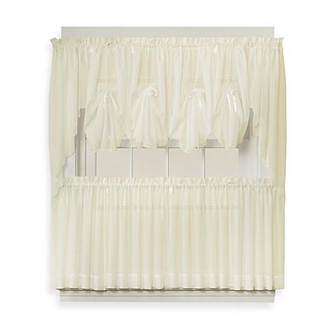 Buy Emelia 30 Inch Sheer Window Curtain Tier Pair In Ecru