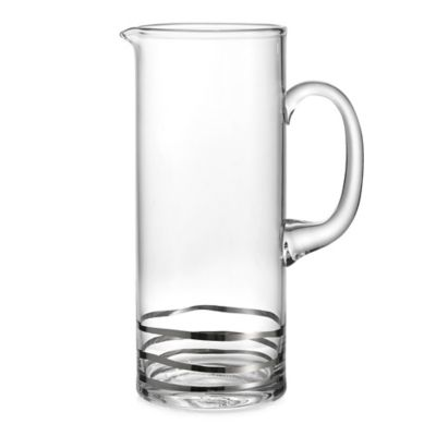 Fitz and Floyd Cocktail Platinum Waves Pitcher