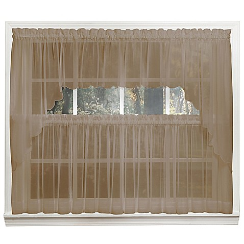 Emelia 14 inch sheer window valance in taupe www for 14 inch window