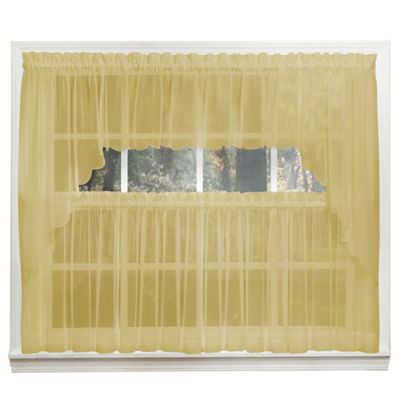 Emelia 14-Inch Sheer Window Valance in Gold