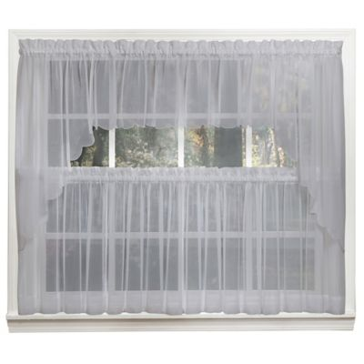 Emelia 14-Inch Sheer Window Valance in Grey