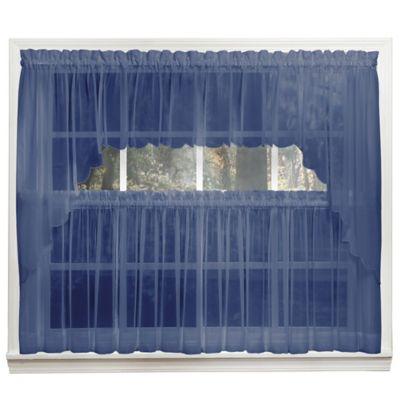 Emelia 14-Inch Sheer Window Valance in Navy
