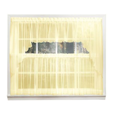 Emelia 14-Inch Sheer Window Valance in Yellow