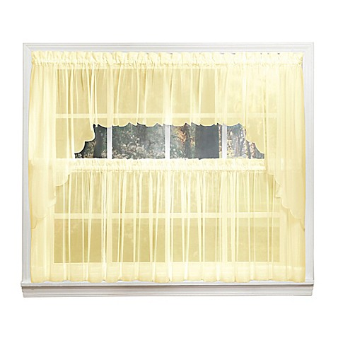 Emelia 14 inch sheer window valance in yellow bed bath for 14 inch window