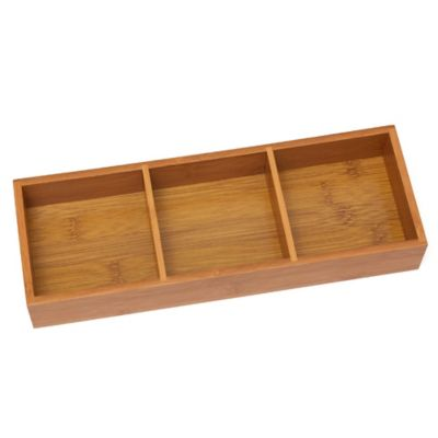 Lipper International 3-Compartment Bamboo Tray