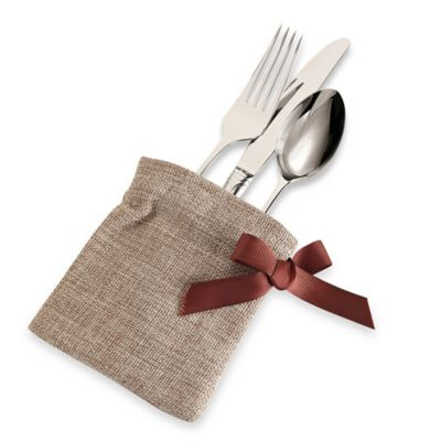 Harvest Ribbon Burlap Utensil Holder (Set of 4)