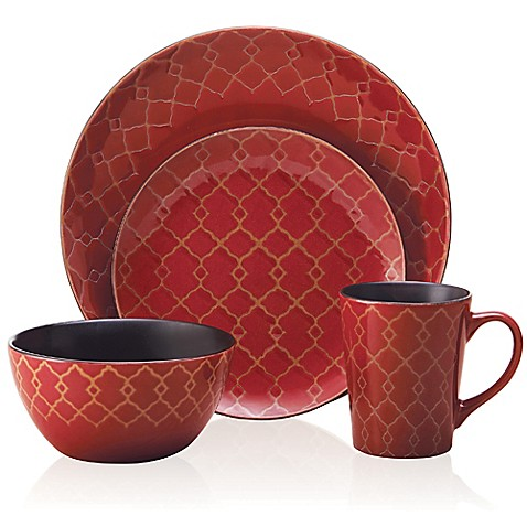 buy pfaltzgraff everyday vintage mix and match 16 piece dinnerware set in red from bed bath. Black Bedroom Furniture Sets. Home Design Ideas