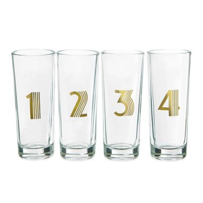 Gold Decal Numbered Shot Glasses (Set of 4)