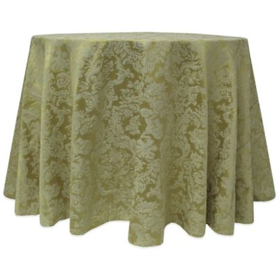 Miranda Elegant Two-Tone Damask 108-Inch Round Tablecloth in Sage