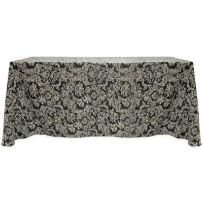 Miranda Damask 90-Inch x 156-Inch Oblong Tablecloth in Black