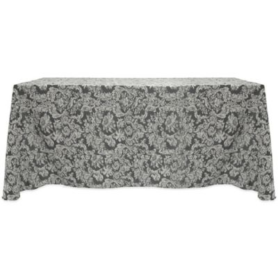 Miranda Damask 90-Inch x 156-Inch Oblong Tablecloth in Pewter