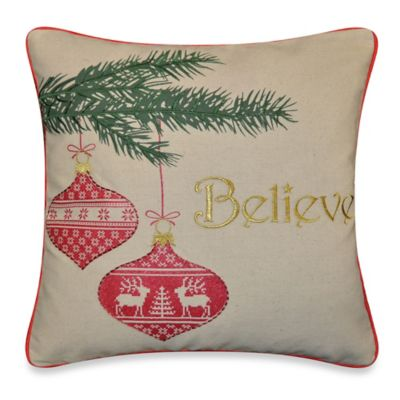 Believe Throw Pillow in Natural