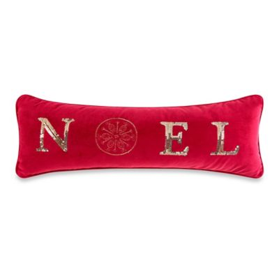 Noel Luster Throw Pillow in Red
