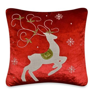 Prancing Reindeer Throw Pillow in Red
