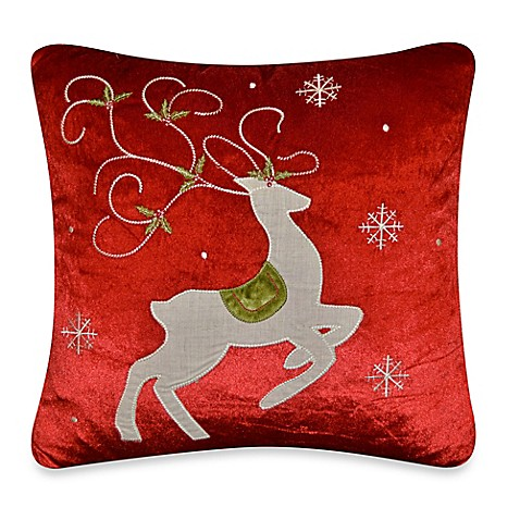 Red Throw Pillows For Bed : Prancing Reindeer Throw Pillow in Red - Bed Bath & Beyond