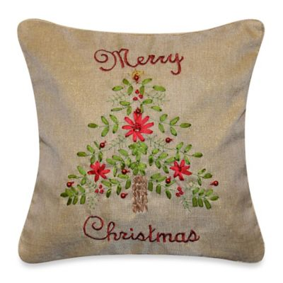Merry Christmas Tree Throw Pillow in Natural
