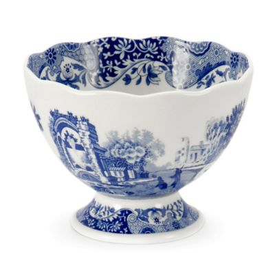 Blue White Footed Bowl