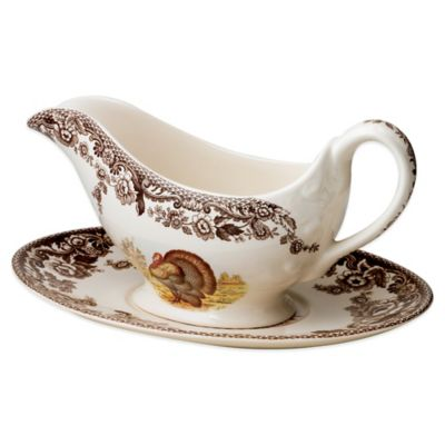 Spode® Woodland Turkey Sauceboat and Stand