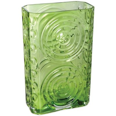 Dartington Crystal Echo Rectangular Vase in Lime Green