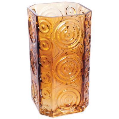 Dartington Crystal Echo Square Vase in Amber