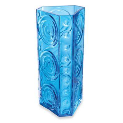 Dartington Crystal Echo Triangular Vase in Turquoise
