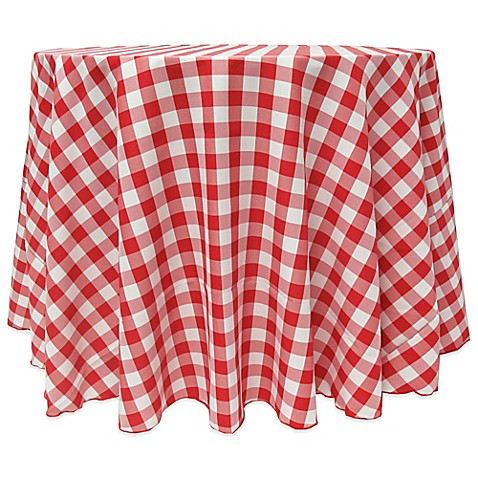 Buy Gingham Poly Check 90 Inch Round Tablecloth In Red