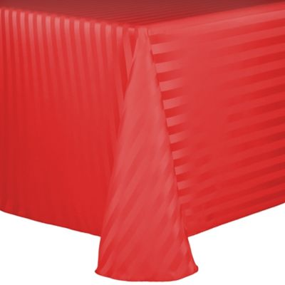 Poly Stripe 90-Inch x 132-Inch Oblong Tablecloth in Red
