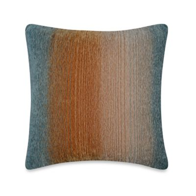 Ombré Stripe Square Throw Pillow in Teal