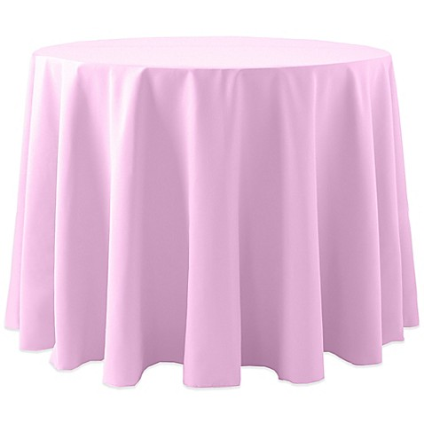 Buy Spun Polyester 90 Inch Round Tablecloth In Light Pink