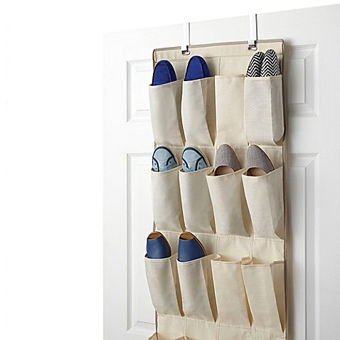 real simple 24 pocket over the door shoe organizer bed bath beyond. Black Bedroom Furniture Sets. Home Design Ideas