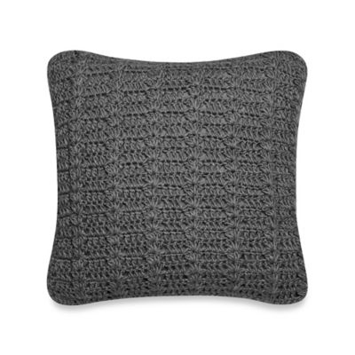 Hand Crochet Square Throw Pillow in Charcoal