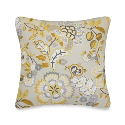 Tatiana Floral Throw Pillow in Yellow/Grey