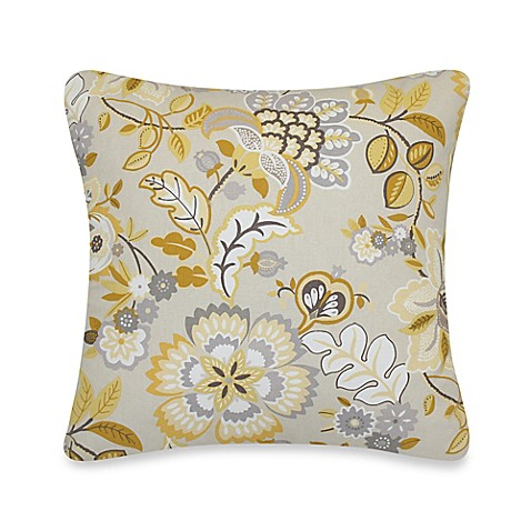 Yellow Throw Pillows Bed : Tatiana Floral Throw Pillow in Yellow/Grey - Bed Bath & Beyond