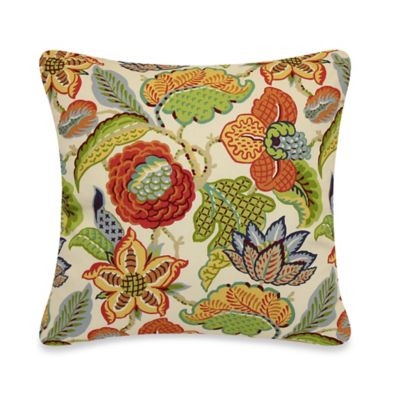 Multi-Colored Floral Throw Pillow