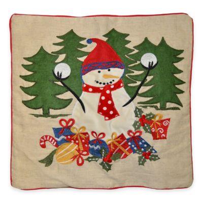 Snowman Throw Pillow Holiday Bedding