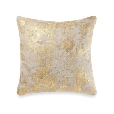 Cotton Foil Throw Pillow in Gold