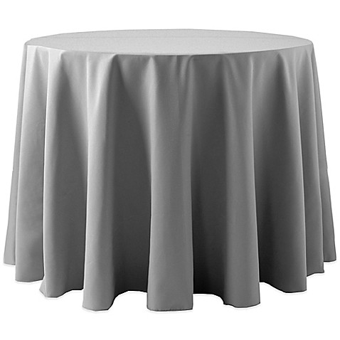 Buy Spun Polyester 120 Inch Round Tablecloth In Grey From