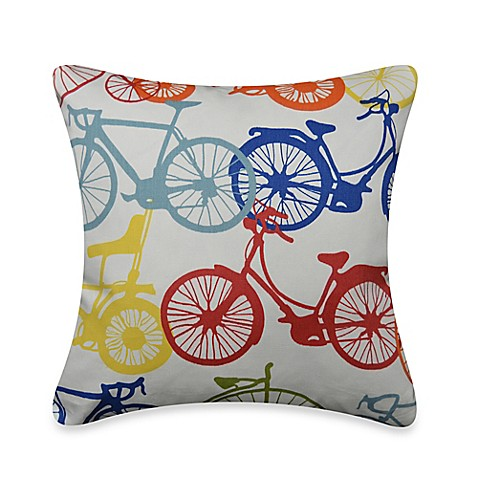 Bicycle Print Throw Pillow : Bike Print Square Throw Pillow - Bed Bath & Beyond
