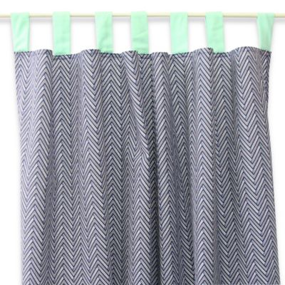 Caden Lane® Arrow Chevron Window Panel Pair in Navy/Mint
