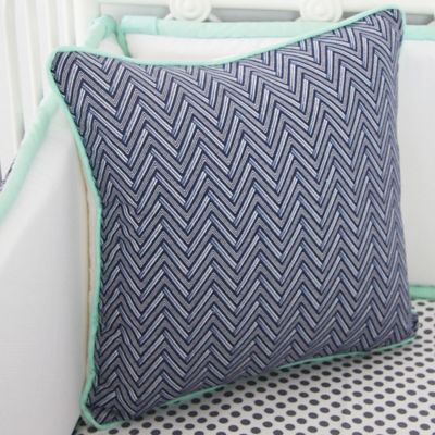 Caden Lane® Arrow Chevron Square Toss Pillow in Navy/Mint