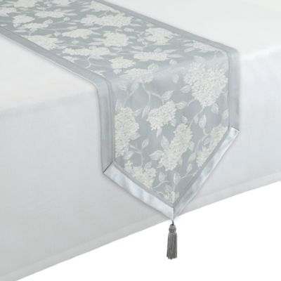 Waterford® Linens Hydrangea 16-Inch x 90-Inch Table Runner in Platinum
