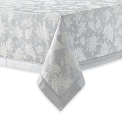 Waterford® Linens Hydrangea 70-Inch x 84-Inch Oblong Tablecloth in Platinum