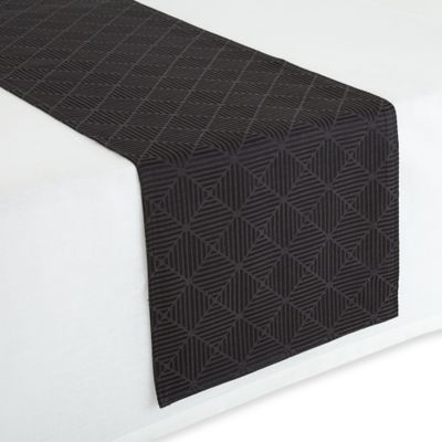 Waterford® Linens Stella 16-Inch x 90-Inch Table Runner in Black