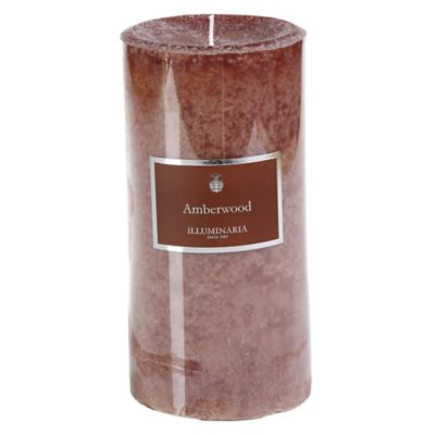 Illuminaria 4-Inch x 8-Inch Pillar Candle in Amberwood