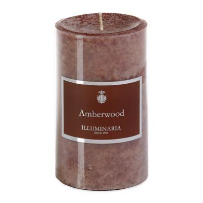 Illuminaria 3-Inch x 5-Inch Pillar Candle in Amberwood