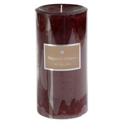 Illuminaria 4-Inch x 8-Inch Pillar Candle in Bergamot Tobacco