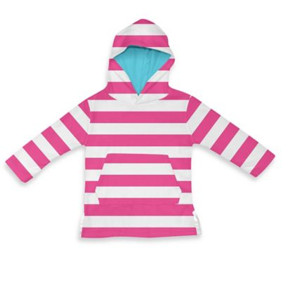i play.® Size 18-24M Terry Hoodie Cover-Up in White/Hot Pink Stripe