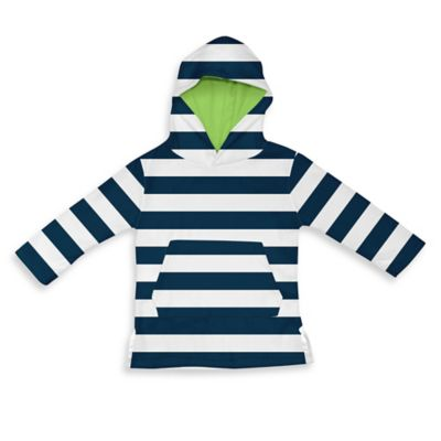 i play.® Size 6-12M Terry Hoodie Cover-Up in White/Navy Stripe