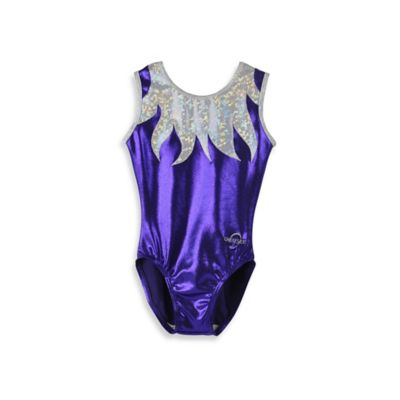 Obersee Size Medium Kids Gymnastics Leotard in Purple Flames
